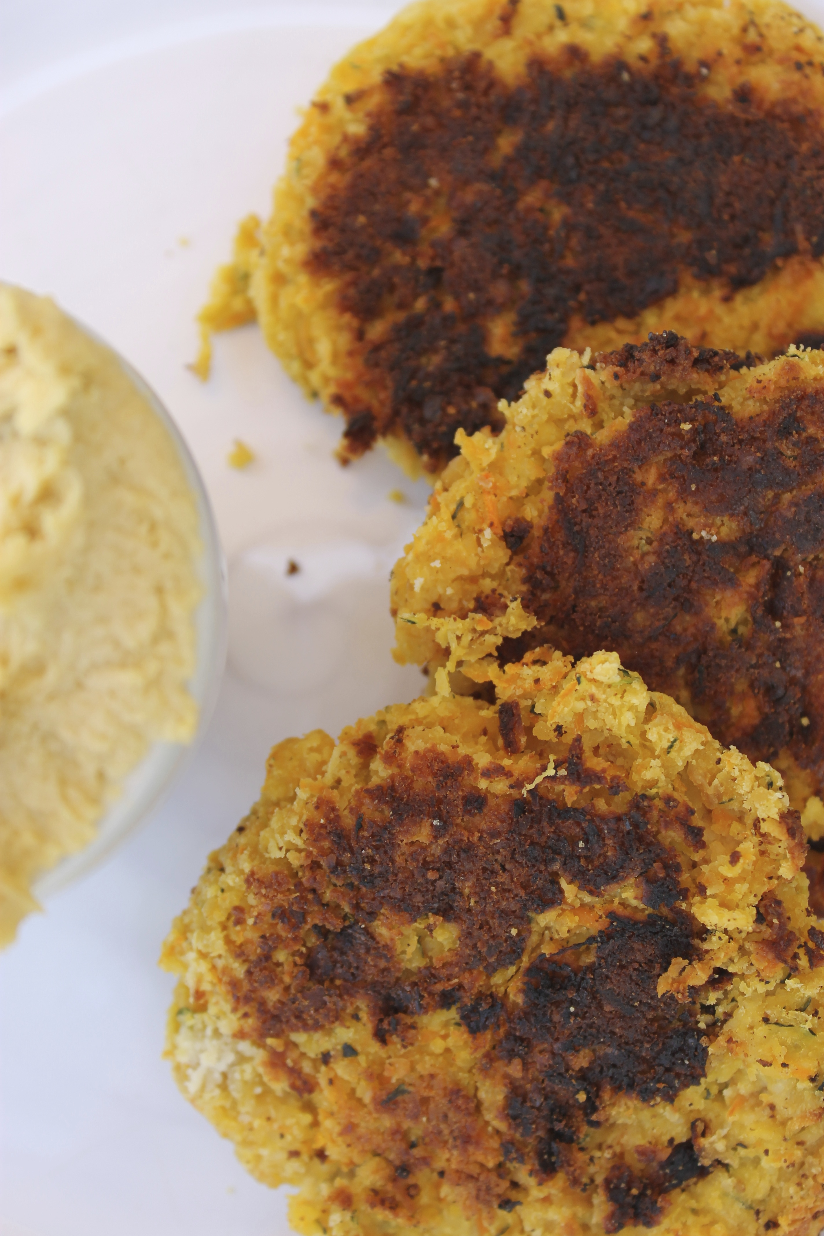 Chickpea, Carrot and Zucchini Fritters with Creamy Hummus