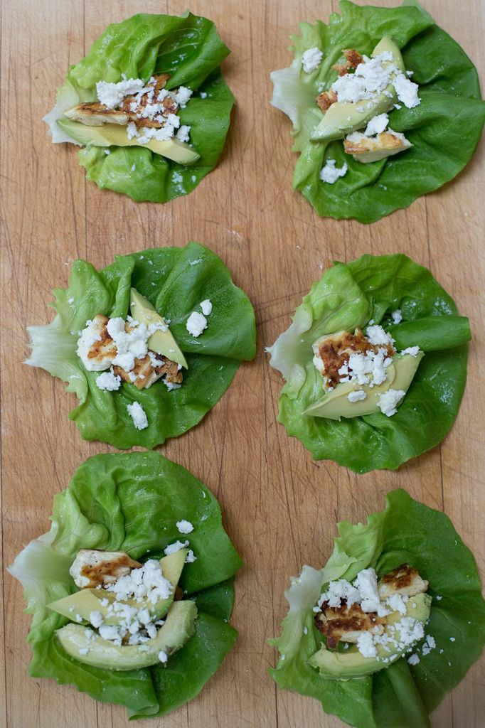 Lemon Tofu, Feta & Avocado Lettuce Wraps