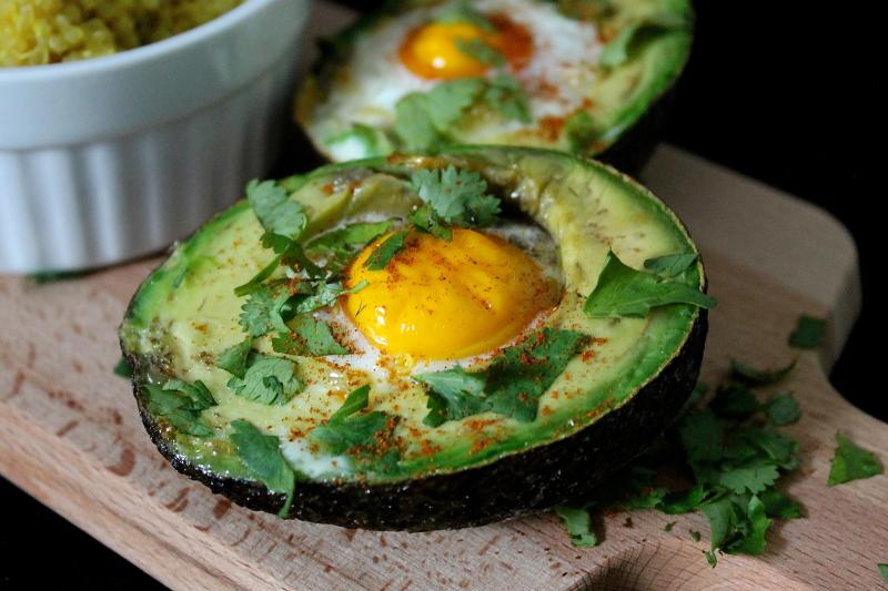 Baked Eggs in Avocado with Spiced Turmeric Quinoa