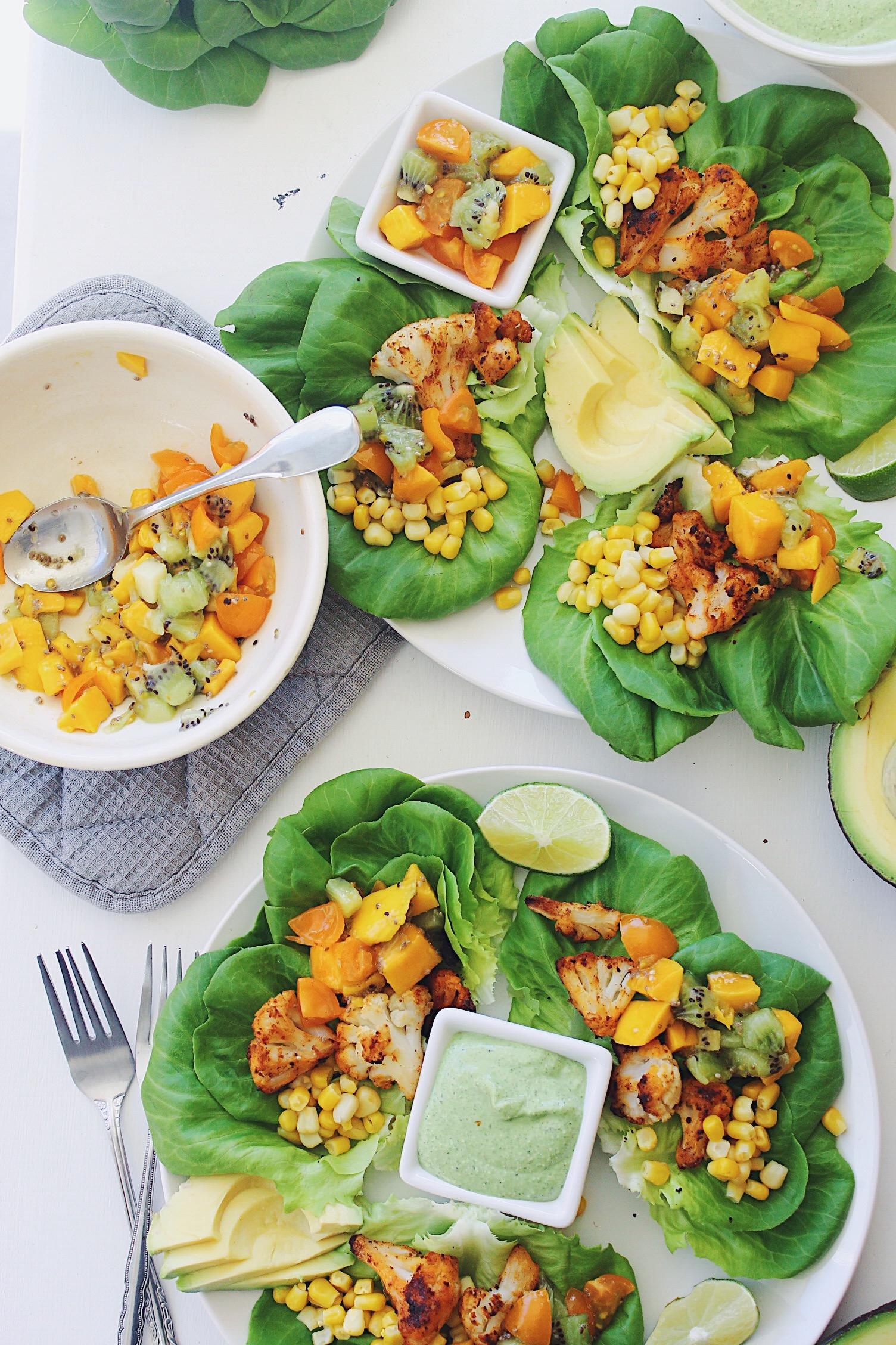 Cauliflower Lettuce Wrap Tacos