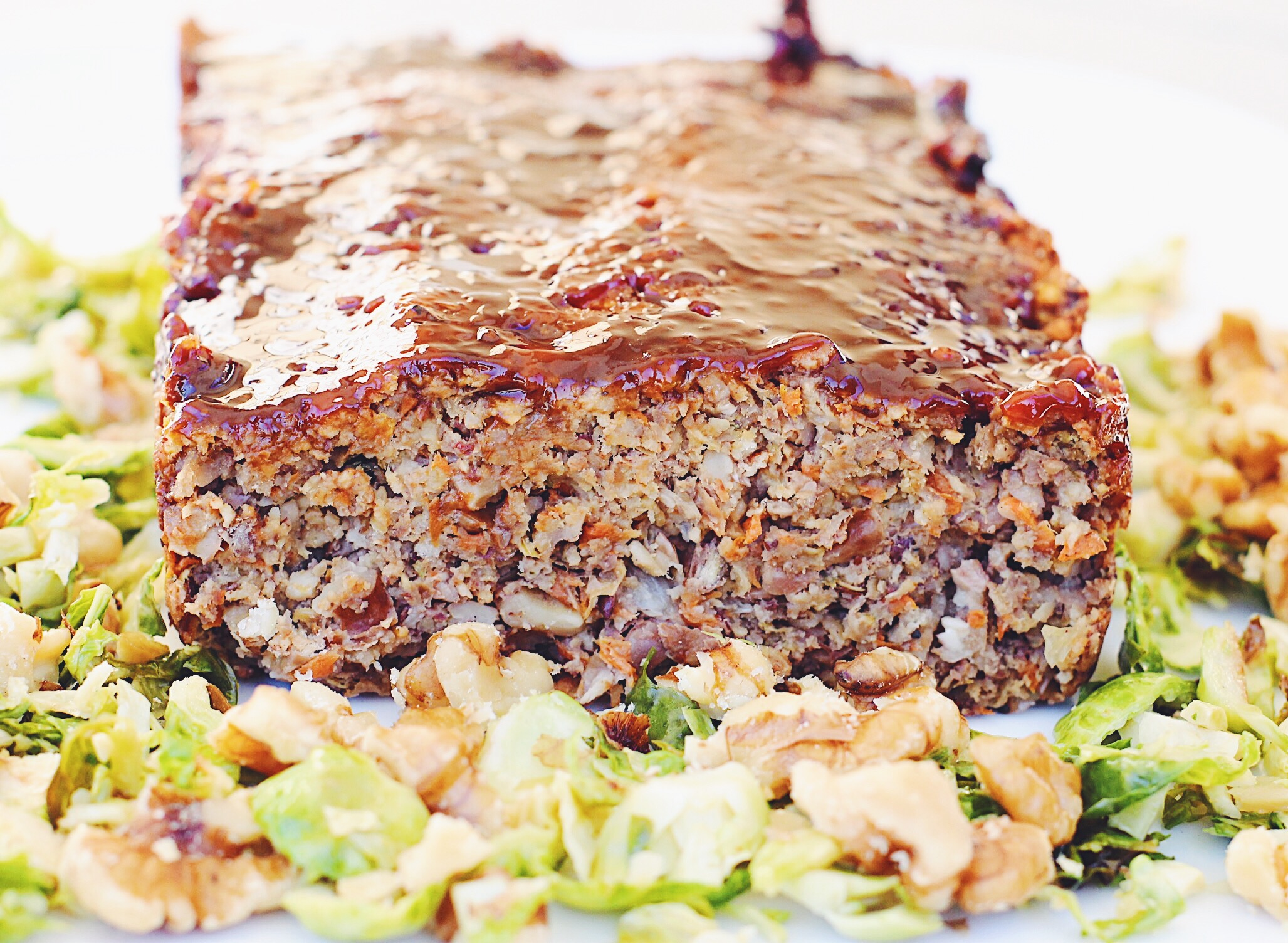 Lentil Walnut Loaf with BBQ Balsamic Glaze and Maple Dijon Brussels Sprouts