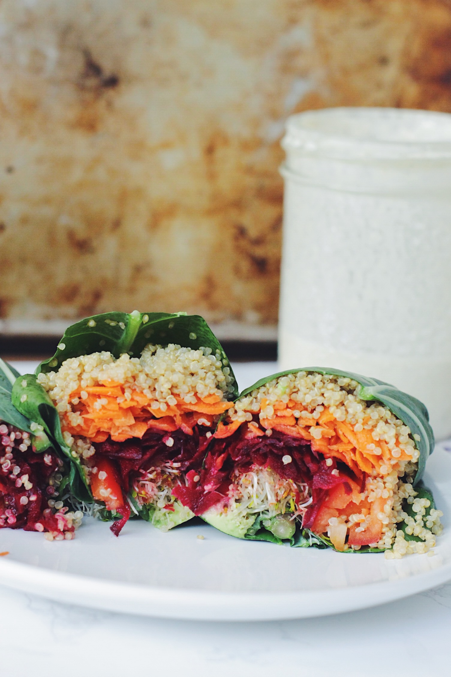 Rainbow Collard Wraps with Lemon Tahini Dressing