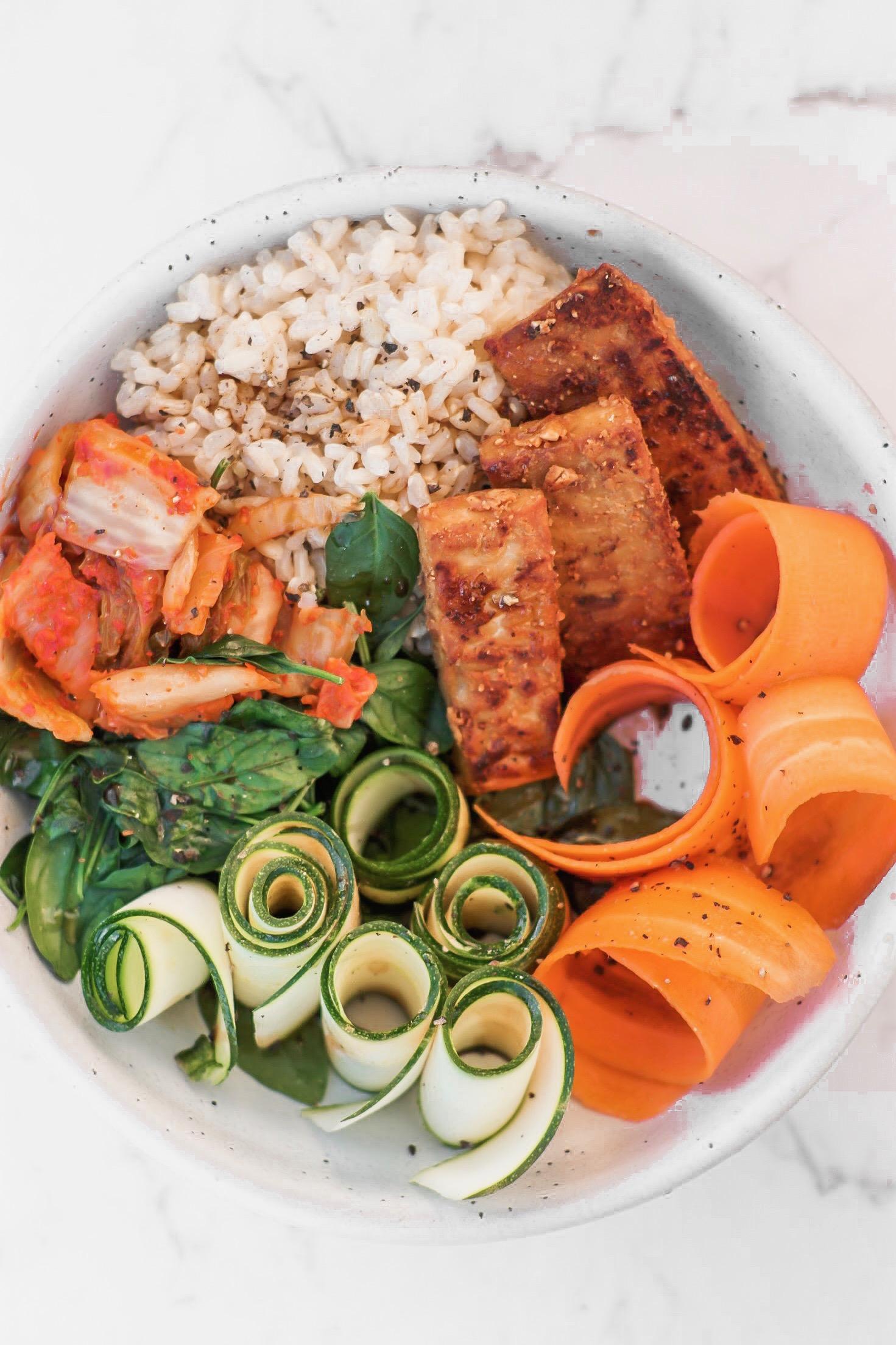 Kimchi, Brown Rice & Tempeh Bowl