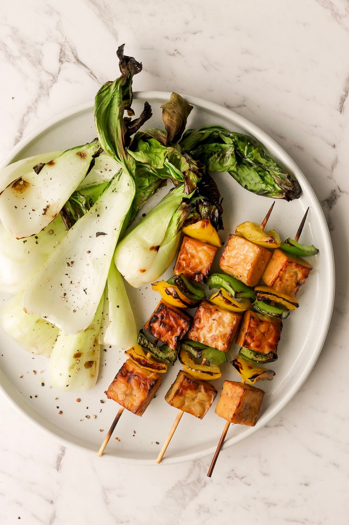 Recipe: Tempeh Kebabs with Bell Peppers and Bok Choy