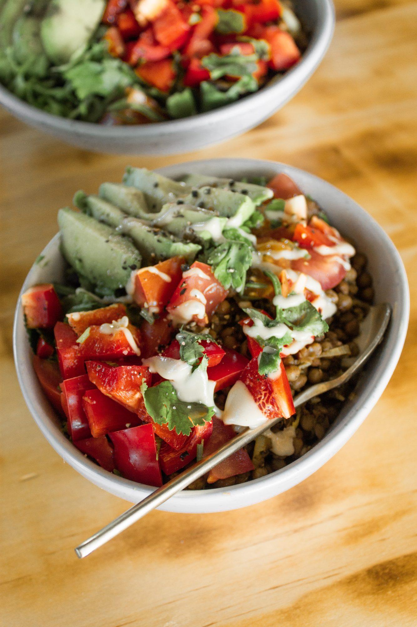Mushroom Lentil Burrito Bowls